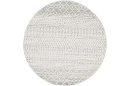 94 Inch Round Rug-Global Grey And White Stripe