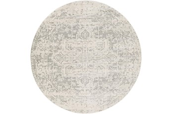 63 Inch Round Rug-Traditional Soft Greys
