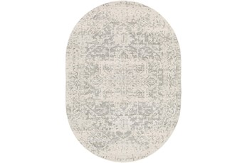 79X108 Oval Rug-Traditional Soft Greys