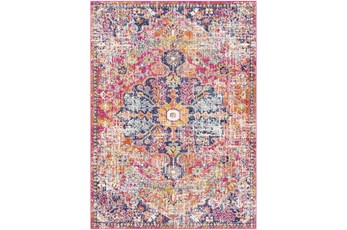 108X150 Rug-Traditional Bright Pink/Multicolored