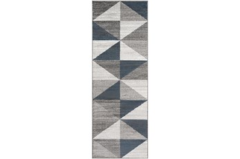 31X87 Rug-Modern Triangle Greys And White
