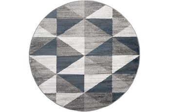 63 Inch Round Rug-Modern Triangle Greys And White