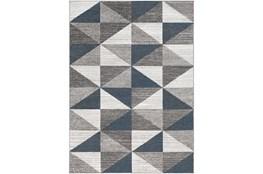 79X108 Rug-Modern Triangle Greys And White