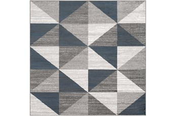 79X79 Square Rug-Modern Triangle Greys And White