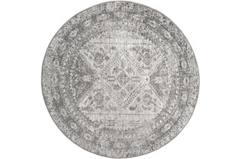 63 Inch Round Rug-Traditional Grey