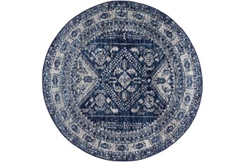 63 Inch Round Rug-Traditional Navy