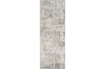 31X87 Rug-Modern Grey And Cream