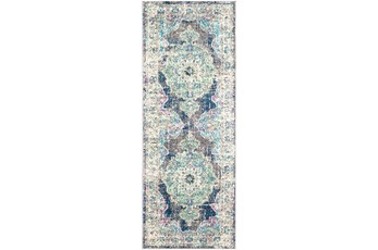 31X87 Rug-Traditional Distressed Multicolored