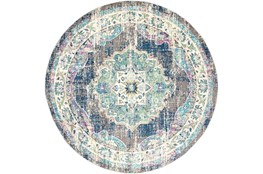 94 Inch Round Rug-Traditional Distressed Multicolored