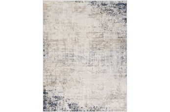 94X120 Rug-Modern Distressed Grey And Blue
