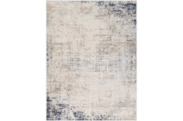 94 Inch Round Rug-Modern Distressed Grey And Blue