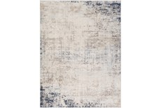 108X147 Rug-Modern Distressed Grey And Blue