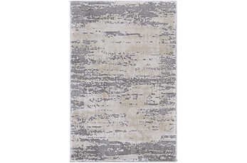 79X114 Oval Rug-Modern Distressed High/Low Khaki And Grey