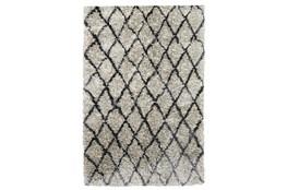 60X96 Rug-Modern Diamond Light Gray Shag
