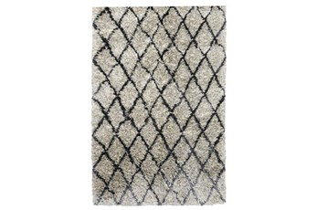 60X96 Rug-Modern Diamond Light Gray Shag