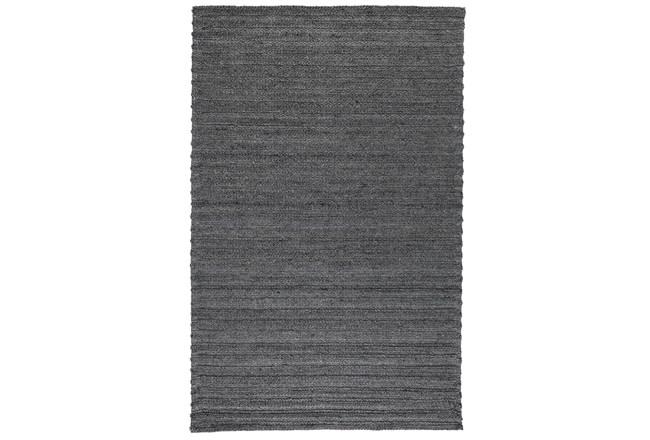 96X120 Rug-Modern Charcoal Plush Wool Blend - 360