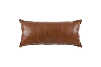 Accent Pillow-Brown Pieced Leather 16X36