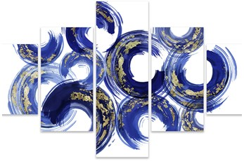 Picture-Gold And Blue Swirl Set Of 5