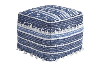 Pouf-Tassel Blue/White