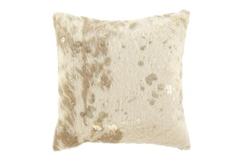 Accent Pillow-Faux Fur Metallic Accents Cream/Gold 18X18