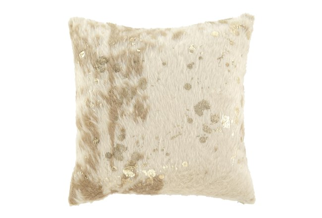 Accent Pillow-Faux Fur Metallic Accents Cream/Gold 18X18 - 360