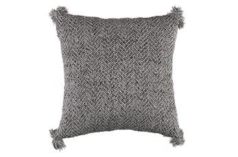 Aceent Pillow-Woven Tassels Black 18X18