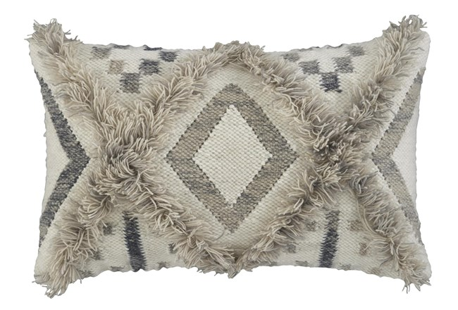 Accent Pillow-Diamond Design Natural/Black 22X14 - 360