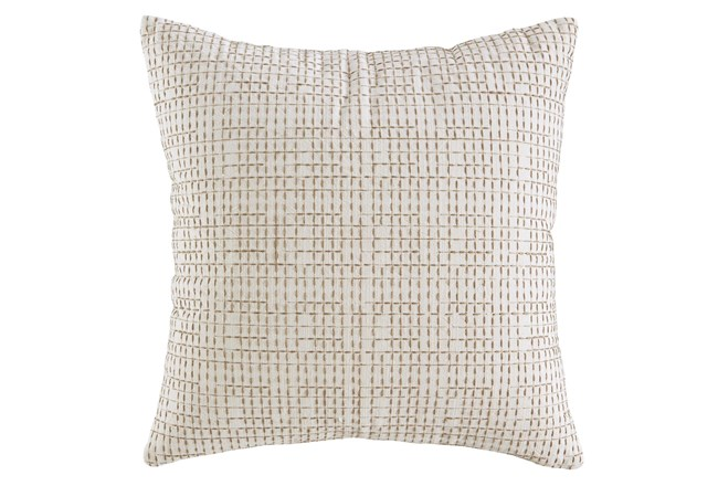 Accent Pillow-Embroidered Grid Cream/Sand 20X20 - 360