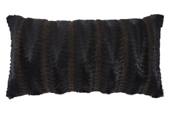 Accent Pillow-Faux Fur Brown/Black 26X14