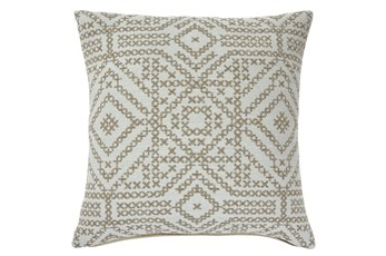 Accent Pillow-Jacquard Embroidery Brown 20X20