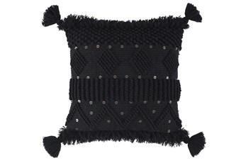 Accent Pillow-Woven Tassels Black 20X20