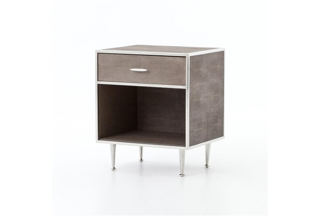 Shagreen Bedside Table-Stainless Steel - 360