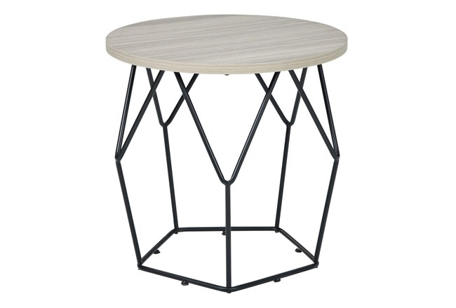 Lowell Light Brown/Black Round End Table - 360