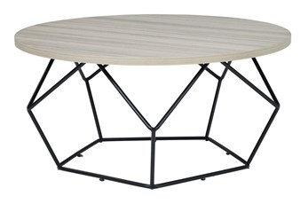 Lowell Light Brown/Black Round Cocktail Table