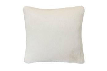 18x18 Accent Pillow-Ivory Plush Faux Fur