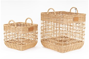 Magnolia Home Agape Basket,S/2 Rattan Square By Joanna Gaines