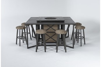 Capri Outdoor Firepit Bar Table With Two Bar Tables And Eight Round Barstools
