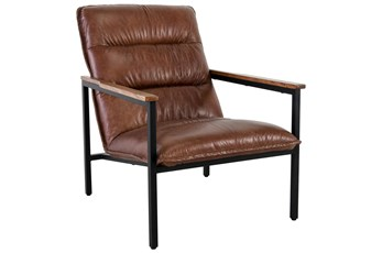 Brown Top Grain Leather Channeled Accent Chair
