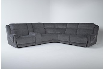 """Terence Graphite 6 Piece 154"""" Power Reclining Sectional With Power Headrest & Usb"""