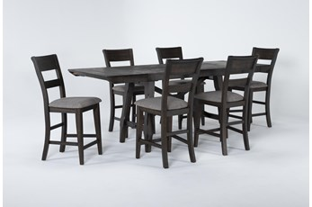 Double Bridge 7 Piece Extension Couter Set With Slat Back Stools