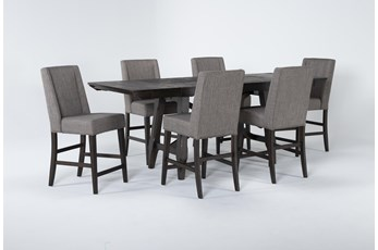 Double Bridge 7 Piece Extension Couter Set With Upholstered Stools