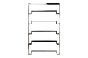 "Shiny Silver Large 87"" Bookcase"