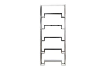 "Shiny Silver Small 87"" Bookcase"