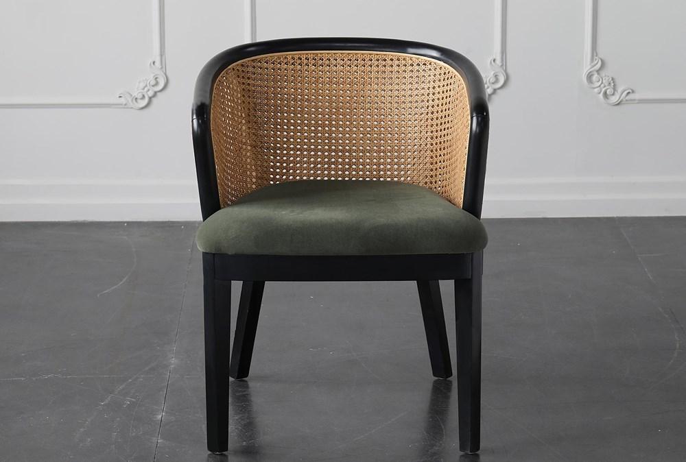 Green Velvet With Rattan Back Dining Chair