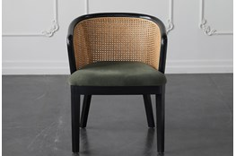 Green Velvet With Rattan Back Dining Chair
