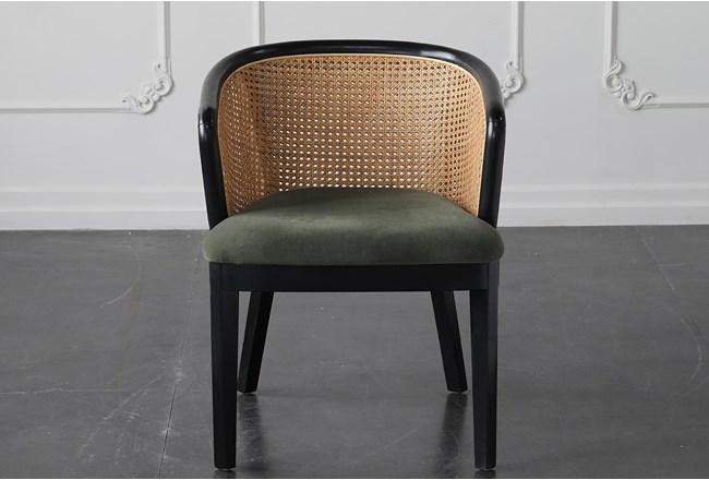 Green Velvet With Rattan Back Dining Chair - 360