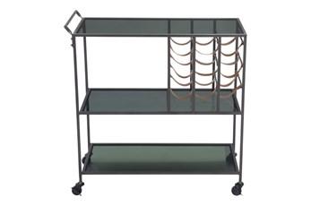 Black Metal And Glass Bar Cart
