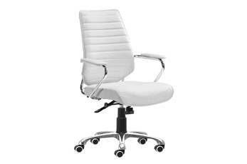 White Vegan Leather Low Channel Back Desk Chair