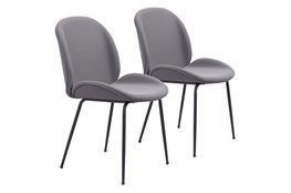 Grey Scooped Dining Chair Set Of 2