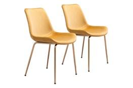 Yellow Velvet Bucket Seat Dining Chair Set Of 2